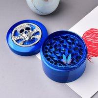 Mode 4-Lagen Zinklegierung Blauer Schädel Kräuterkraut Tabak Grinder Crusher Rauch