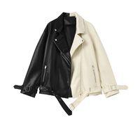 Женская кожаная искусственная женская велосипедная мотомассажная куртка 2021 весна осень свободно негабаритные пальто женщина пэчворк цвет черный белый PU EUREWARE