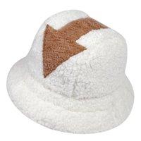 Outdoor Hats White Lamb Wool Gorros Fishing Cap Fur Fisherman Arrow Symbol Print Bucket Hat Winter Warm Printing
