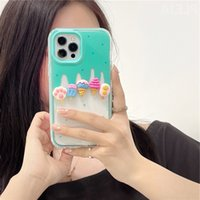 Fashion 3D Ice Cream Toy Cute Phone Case for 12 11 Pro Max 7 8 plus X XR XS Cover 2 in 1 Border Shockproof Soft Cases