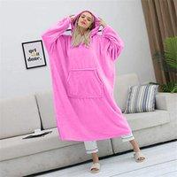 2021 Heißer Verkauf Übergroße Hoodies Sweatshirt Frauen Tragbare Decke mit Ärmeln Plüsch Übergröße Pullover Frauen Hoody Home Kleidung x0629