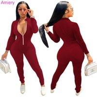 Fashion Overalls Pants Autumn Winter Women Jumpsuits Designer Solid Color Long Sleeve Zipper Corduroy Pit Strip Onesies Sports Rompers