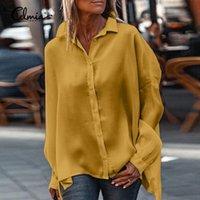 S-5XL Damenhemd Celmia Herbstparty Langarmbüro Hemden Mode Revers Beiläufige lose Bluse Feste Tops 5XL Arbeit Blusas Frauen Blusen