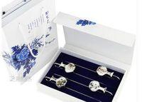 Bookmark Desk Accessories Supplies Office School Business Industrial Drop Entrega 2021 Blue and White Porcelana China Viento Metal Clásico
