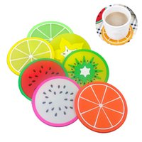 실리콘 과일 코스터 패턴 다채로운 실리콘 라운드 컵 쿠션 홀더 두꺼운 음료 식기 코스터 머그잔 6 색 GWC7678