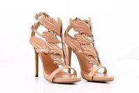 2019 Hot Golden Metal Wings Leaf Strappy Dress Sandal Gold Gladiator High Heels Shoes Women Metallic Winged Sandals