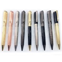 PURE PEARL 10 Styles Quality Ballpoint Pen Classic Luxury Metal Golden Silver sculpture barrel Stationery smooth writing+Gift Refills+Plush Pouch