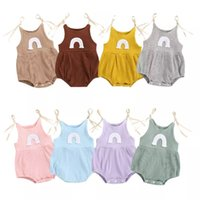 INS Korean Australia Baby Jumpsuits Rompers Rainbow Designer Summer Newborn Ribbed Knitted Cotton Onesies Bodysuits