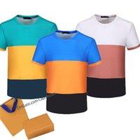 2021 Moda Erkek T Gömlek Kısa Kollu Renkli Baskılar Tüm vücut Klasik Mektup Baskı Çift Nefes Yüksek Kaliteli Tasarımcı Rahat Yaz Giyim