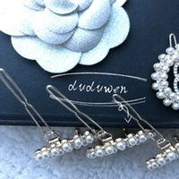 3.5cm C Fashion metal hair clips Classic pearls circle with stone 2C hairpins collection accessories suit for sweater brooch v