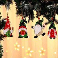 Dekorationen Malen Holz Anhänger Haus Auto Weihnachtsbaum Gesichtslose Alter Mann Rudolph Muster Anhänger Indoor Party Dekoration Verkauf GYQQQ412