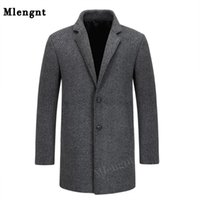 Men's Jackets Simple Solid Men Classic Suit Collar Coats Autumn Winter 65% Wool Long Trench Male Cashmere Blend Smart Casual Outerwear