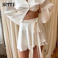 Skirts JRYYT High Waist Sweet Mini Women Summer Sashes A-Line Short Skirt Woman 2021 Solid Slim Faldas Female Black Smooth White