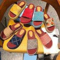 Lüks Tasarımcı Kadın Sandalet Tuval Platformu Terlik Gerçek Deri Bej Tuğla Kırmızı Renkler Plaj Slaytları Terlik Açık Parti Klasik Sandalet Kutusu Boyutu 35