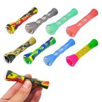 Silicone Smoking Pipe Glass Bongs 3.4 inches Cigarette Hand Pipes Portable Mini Tobacco Pipe Cigarettes Holder
