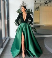 Elegant Dubai Women Evening Dresses Long Sleeve Deep V-neck 2021 Sparkly Sequined Green Satin Formal Prom Party Gowns High Split Side