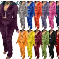 Women Velvet Tracksuits Two Piece Set Designer Clothes 2021 Pleated Zipper Long Sleeve Jacket Trousers Outfits Ladies Plus Size 15 Colours