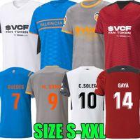 21 22 Valência CF Futebol Jerseys VCF C.Soler Home Away Terceiro Th 2021 2022 Camisetas de Fútbo Guedes Gaya Manu Vallejo Camisa de Futebol M.Gomez Wass Mens Kit Kit Tops
