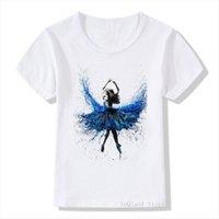Blue Dress Ballet Dancer Printed Novelty Tee Summer Girls Clothes T Shirts White Top Cute Girl Shirt Kids Clothing