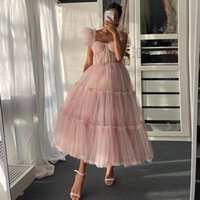 Simple Light Pink Short Prom Dresses Spaghetti Straps Tiered Tulle Prom Gowns Sweeheart Tea-Length Evening Party Dress