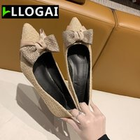 Dress Shoes Bowknot Fashion High Heels Women Sandals Pointed Toe Lace Mules Vintage Heel Party Wedding