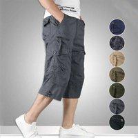 2021 Summer Uomo Casual Cotton Cargo Shorts Lunga lunghezza Multi Pocket Pantaloni Capri Maschio militare Camouflage Breve taglia M-5XL x0601