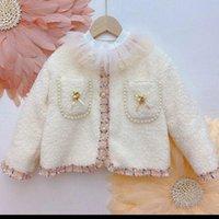 Jackets Ins Fashion Girls Fleece Jacket Pearl Cc Boutique Kids Cardigan Winter Coat Outfit Lovely Pocket Vintage Design Clothing