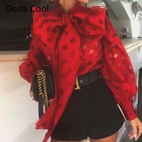 Women's Blouses & Shirts High Street Women Vacation Blouse Hollow Out Dots Bow Collar Designer Collection Lady's Chic Long Lantern Sleeves T
