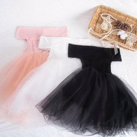 Princess Dress Pageant 2021 Born Baby Kids Girl Off Shoulder Tutu Mesh Party Wedding Formal Black White Pink Girl's Dresses