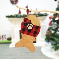 4 스타일 크리스마스 스타킹 격자 무늬 크리스마스 장식 가방 애완 동물 개 고양이 발 스타킹 선물 가방 나무 벽 장식 장식 hwe10183