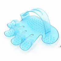 Pet Grooming Shower Brush Comb Bath Massage Hand Shaped Glove Combs Blue Pink Pets Cleaning Plastic Brushes EWE8547