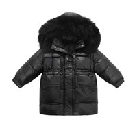 소녀 아래로 코트 겨울 키즈 코트 어린이 outwear 옷 재킷 모피 칼라 후드 롱 아이 자켓 의류 따뜻한 패션 B8590