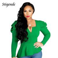 Women's Blouses & Shirts Stigende Spring Puffy Sleeve Blouse Women Casual Long Crop Fashion Solid Sexy Irregular Shirt Top
