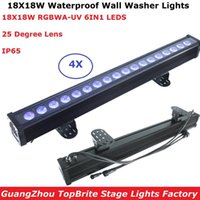 효과 4pcs / lot 방수 18x18W RGBWA-UV 6in1 LED 바 벽 세탁기 조명 DMX512 야외 세척 알루미늄 쉘