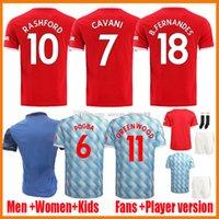 21 22 Manchester Soccer Jerseys Fan Player Verison Donne Lady United Cavani Camiseta Futbol Utd Van de Beek B. Fernandes Rashford 2021 2022 Camicie da calcio Kit per bambini