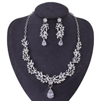 Earrings & Necklace Luxury Wedding Bridal Jewelry Set Elegant Alloy Leaf Rhinestone Women Earring Accessories LB