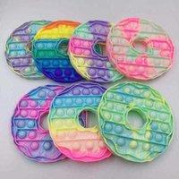 Fidget Brinquedo empurrá-lo Macaron donut celular cordão com bolha sensorial simples multicolor portátil jogo de descompressão brinquedos DHL
