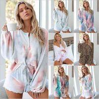 Tie-Farbstoff-Payamas Gedruckt Langarm-Pyjamas Sets Mode Trainingsanzug Anzug Zwei Teil Nachtwäsche Nachtwäsche Set Nightgown Home Wear Anzug B7516