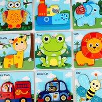 Baby 3D Holz Puzzles Spielzeug Cartoon Tierfahrzeug Geometrie Puzzle Kinder Frühere Lernen Intelligenz Spielzeug M3608