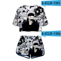 T-shirts Hommes Drôle Anime Jujutsu Kaisen 3D Fille Two Piece Set Summer Short Tshirt Shorts Femmes Sexy Casual Streetwear Tracksuit Tops Pan