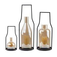 Kerzenhalter Nordic Eisen Glas Outdoor Windproof Kerzenständer Haushalt EL Home Stay Wind Lampe Dekoration