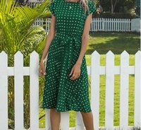 2021 Yaz Artı Boyutu Elbise, Uzun Polka-Nokta Yuvarlak Boyun, Kısa Kollu, Dantel Plise Etek