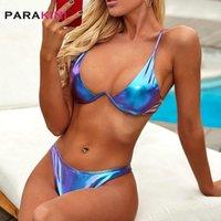 Sexy Solid Underwire Micro Bikini Set Push Up Badeanzug Weibliche Glänzende Swimwear Frauen Zwei Stück Badeanzug Frauen