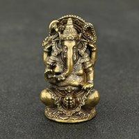 Mini vintage latão ganesha estátua bolso india tailândia elefante deus figura escultura casa escritório mesa decorativa ornamento presente 210414