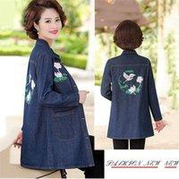 Women's Blouses & Shirts Mother Denim Jacket Middle-aged Women Spring Autumn Long-sleeved Shirt Plus Size 2021 Suit Tops