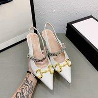 Marca de lujo French Girly Style Toe Toe Sandals Femenino Horneos Hebilla Atrás Correa puntiaguda Boca poco profunda Cadena del talón del gato