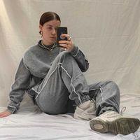 YICIYA 2021 Women Tracksuit 2 Piece Set Plus Size Sweatshirt Set Winter Vintage Cotton Leisure Homewear Outfit Solid Black Q0528
