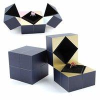 Creative Magic Cube Boucles d'oreilles Bague PROPOSITION ENGAGEMENT DE BIJOUX DE MARIAGE CASE Cadeau Accessoires Boîte Emballage