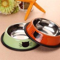 Pet Köpek Paslanmaz Çelik Kaseler Yavru Kediler İçecek Su Bulaşık Besleyici Seyahat Beslenme Kaymaz Yemekler Evcil Malzemeleri Besleyiciler