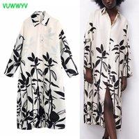ZA 드레스 화이트 인쇄 대형 셔츠 Maxi 여성 긴 소매 버튼 아프리카 여자 빈티지 여름 Vestidos